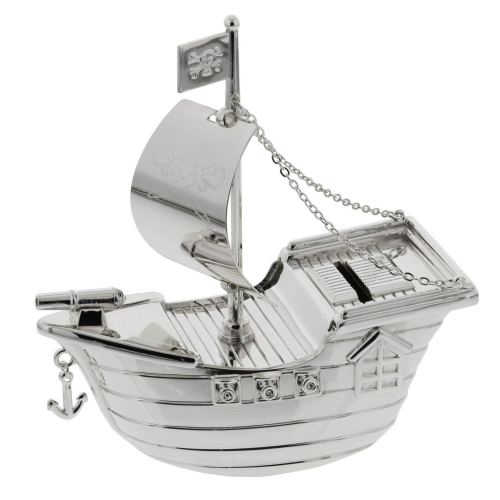 Baby Silver Plated Pirate Ship Money Box - Baby Boy Christening Baptism Gift - Juliana Christening Gifts